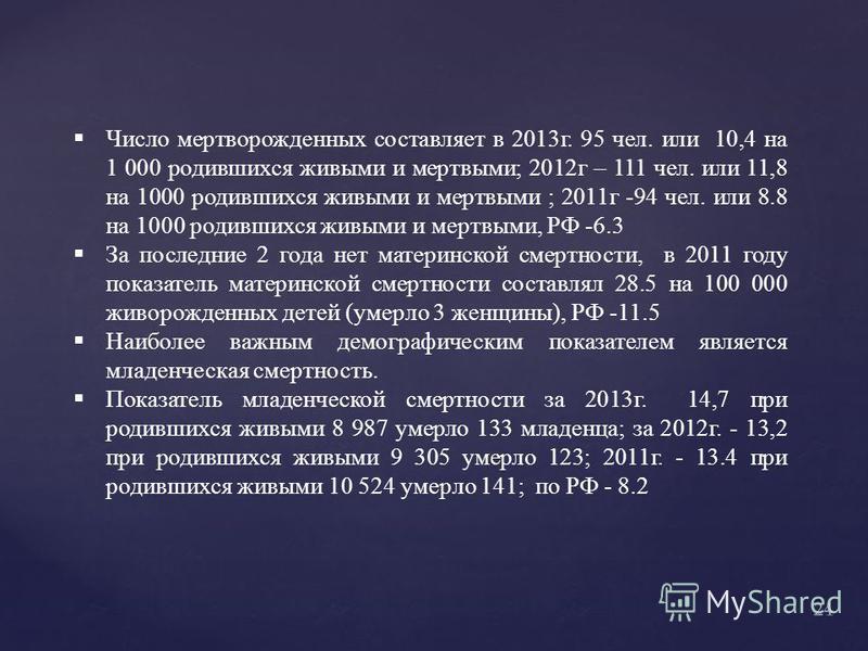Число мертворожденных составляет в 2013 г. 95 чел. или 10,4 на 1 000 родившихся живыми и мертвыми; 2012 г – 111 чел. или 11,8 на 1000 родившихся живыми и мертвыми ; 2011 г -94 чел. или 8.8 на 1000 родившихся живыми и мертвыми, РФ -6.3 За последние 2