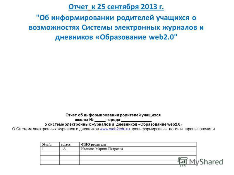 Отчет к 25 сентября 2013 г.