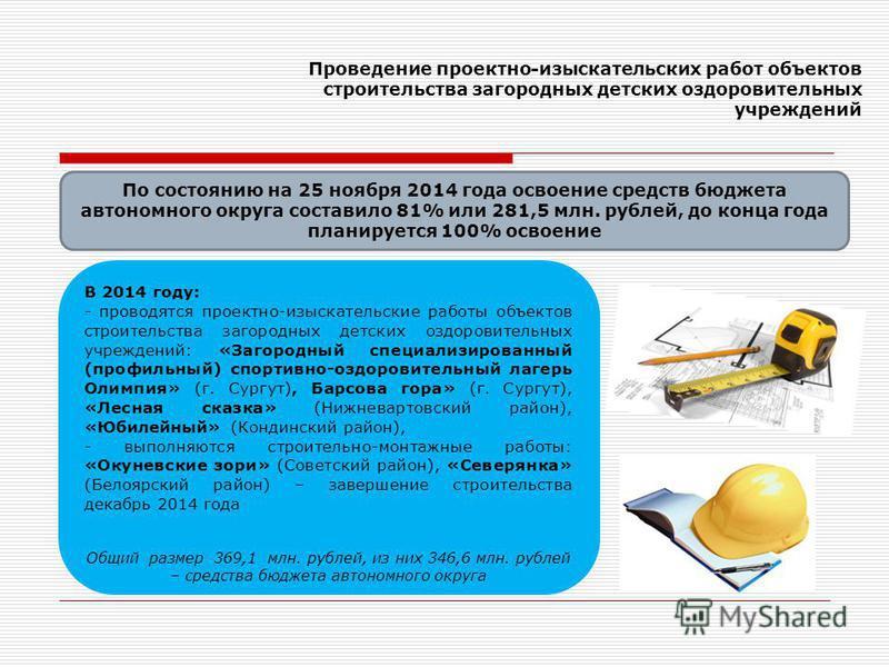 Проведение проектно-изыскательских работ объектов строительства загородных детских оздоровительных учреждений По состоянию на 25 ноября 2014 года освоение средств бюджета автономного округа составило 81% или 281,5 млн. рублей, до конца года планирует