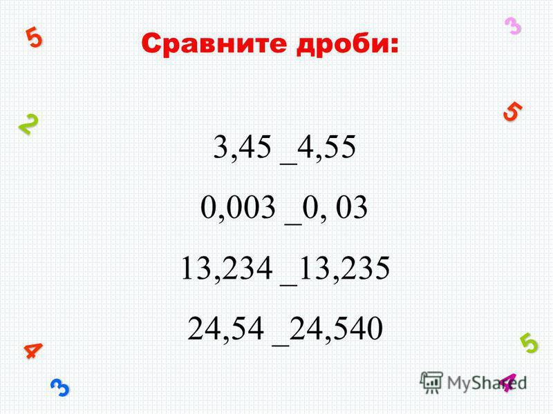 Сравните дроби: 3 4 5 2 5 3 5 4 3,45 _4,55 0,003 _0, 03 13,234 _13,235 24,54 _24,540