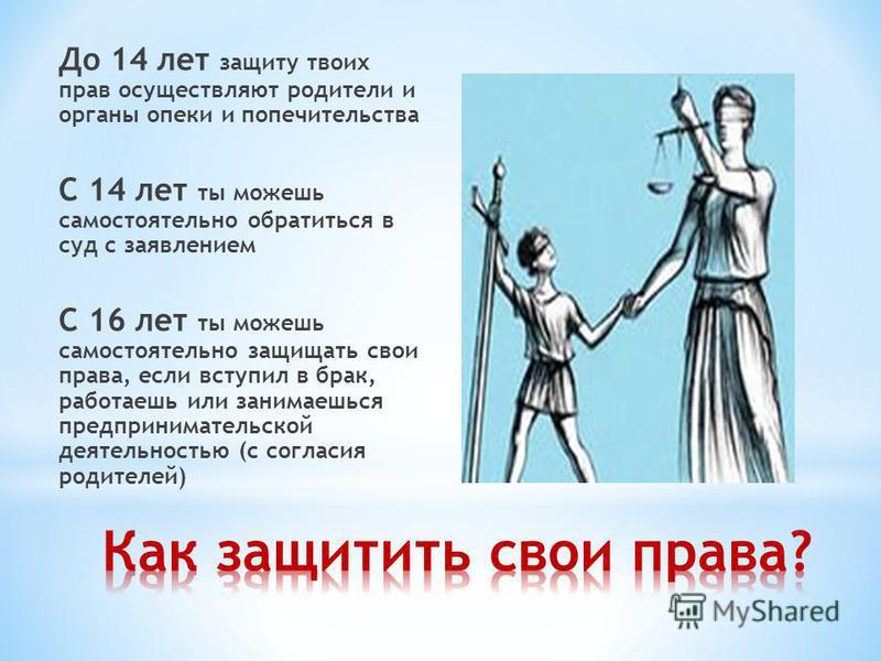 До 14 лет защиту твоих прав осуществляют родители и органы опеки и попечительства С 14 лет ты можешь самостоятельно обратиться в суд с заявлением С 16 лет ты можешь самостоятельно защищать свои права, если вступил в брак, работаешь или занимаешься пр