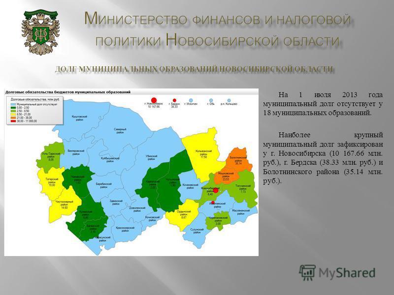 На 1 июля 2013 года муниципальный долг отсутствует у 18 муниципальных образований. Наиболее крупный муниципальный долг зафиксирован у г. Новосибирска (10 167.66 млн. руб.), г. Бердска (38.33 млн. руб.) и Болотнинского района (35.14 млн. руб.).
