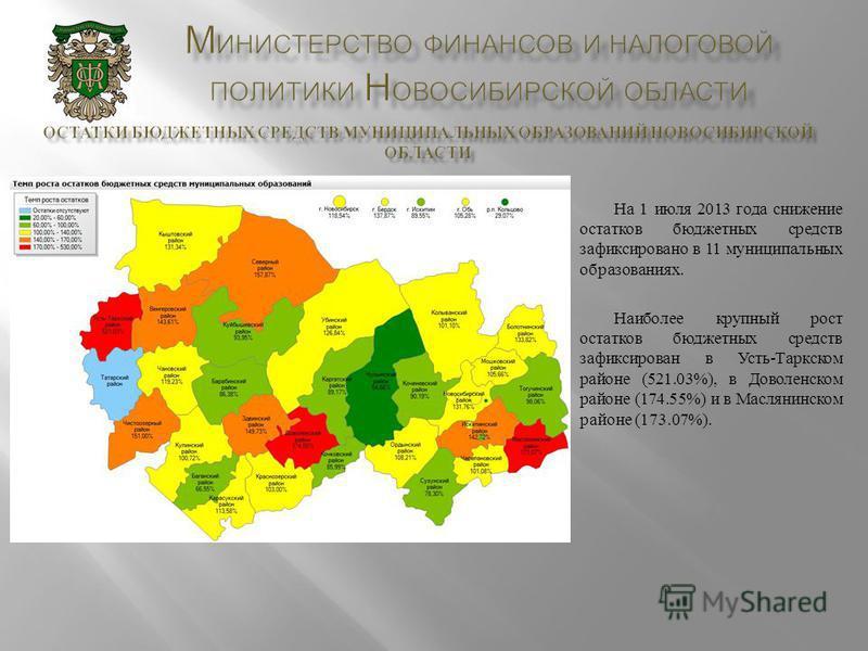 На 1 июля 2013 года снижение остатков бюджетных средств зафиксировано в 11 муниципальных образованиях. Наиболее крупный рост остатков бюджетных средств зафиксирован в Усть - Таркском районе (521.03%), в Доволенском районе (174.55%) и в Маслянинском р
