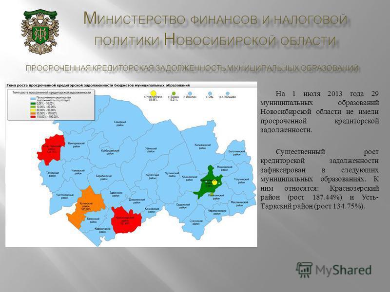 На 1 июля 2013 года 29 муниципальных образований Новосибирской области не имели просроченной кредиторской задолженности. Существенный рост кредиторской задолженности зафиксирован в следующих муниципальных образованиях. К ним относятся : Краснозерский