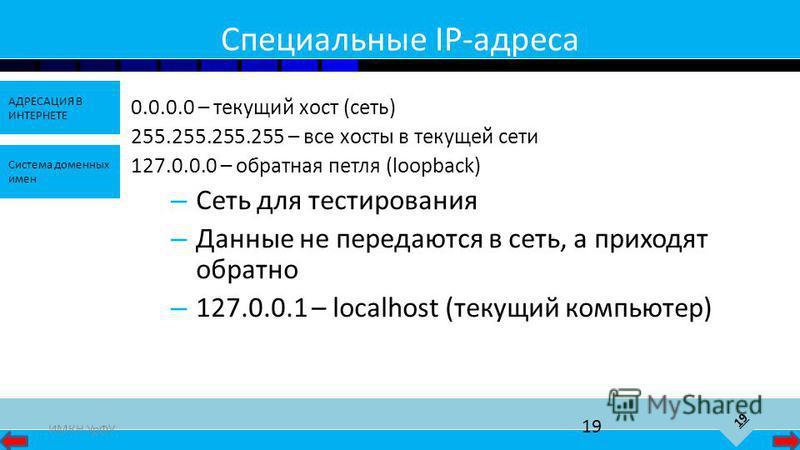 19 АДРЕСАЦИЯ В ИНТЕРНЕТЕ Система доменных имен ИМКН УрФУ 19 Специальные IP-адреса 0.0.0.0 – текущий хост (сеть) 255.255.255.255 – все хосты в текущей сети 127.0.0.0 – обратная петля (loopback) – Сеть для тестирования – Данные не передаются в сеть, а