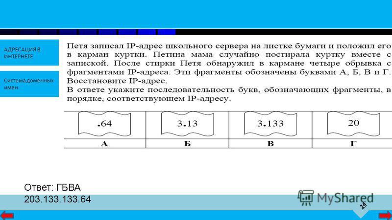 24 АДРЕСАЦИЯ В ИНТЕРНЕТЕ Система доменных имен Ответ: ГБВА 203.133.133.64