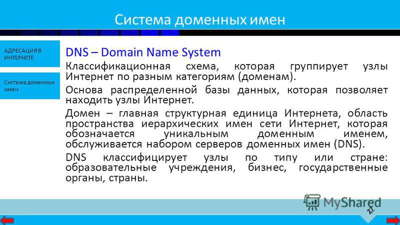 27 АДРЕСАЦИЯ В ИНТЕРНЕТЕ Система доменных имен Система доменных имен DNS – Domain Name System Классификационная схема, которая группирует узлы Интернет по разным категориям (доменам). Основа распределенной базы данных, которая позволяет находить узлы