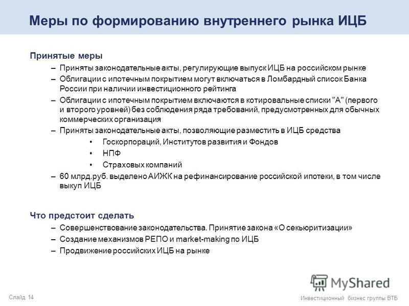 Слайд 14 Инвестиционный бизнес группы ВТБ Меры по формированию внутреннего рынка ИЦБ Принятые меры –Приняты законодательные акты, регулирующие выпуск ИЦБ на российском рынке –Облигации с ипотечным покрытием могут включаться в Ломбардный список Банка