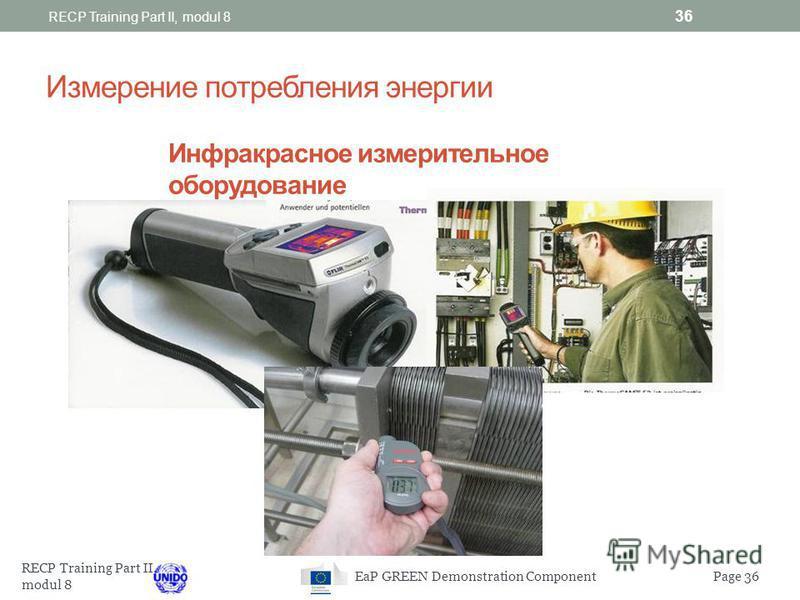 RECP Training Part II, modul 8 Page 35EaP GREEN Demonstration Component Размеры/мощность мотора Чрезмерное завышение мощности мотора: Увеличивает затраты, связанные с капиталом Уменьшает эффективность функциональности мотора, как указано на картинке