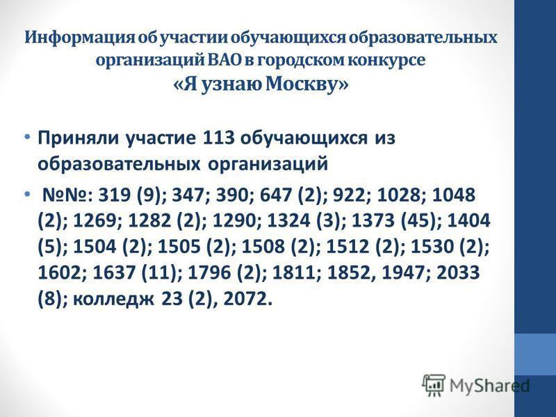 Информация об участии обучающихся образовательных организаций ВАО в городском конкурсе «Я узнаю Москву» Приняли участие 113 обучающихся из образовательных организаций : 319 (9); 347; 390; 647 (2); 922; 1028; 1048 (2); 1269; 1282 (2); 1290; 1324 (3);
