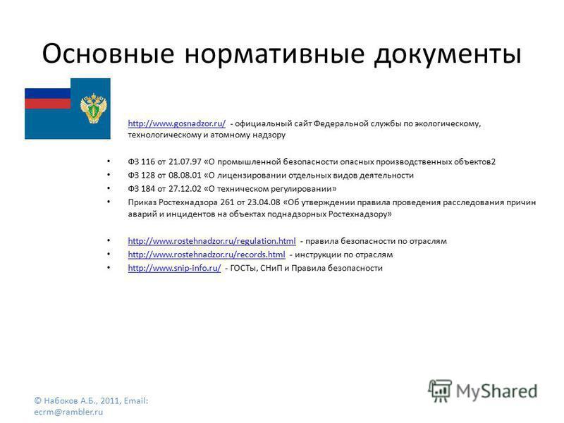 Основные нормативные документы http://www.gosnadzor.ru/ - официальный сайт Федеральной службы по экологическому, технологическому и атомному надзору http://www.gosnadzor.ru/ ФЗ 116 от 21.07.97 «О промышленной безопасности опасных производственных объ