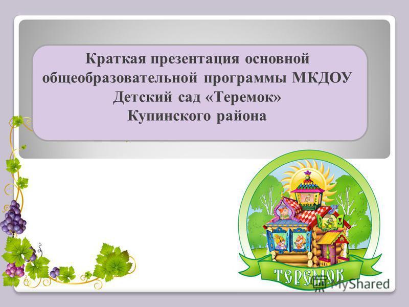 Краткая презентация основной общеобразовательной программы МКДОУ Детский сад «Теремок» Купинского района