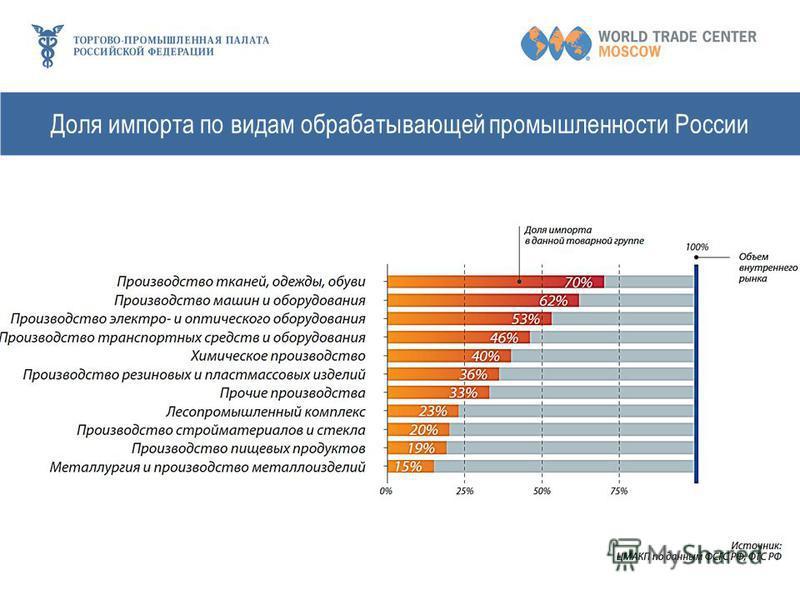 Доля импорта по видам обрабатывающей промышленности России