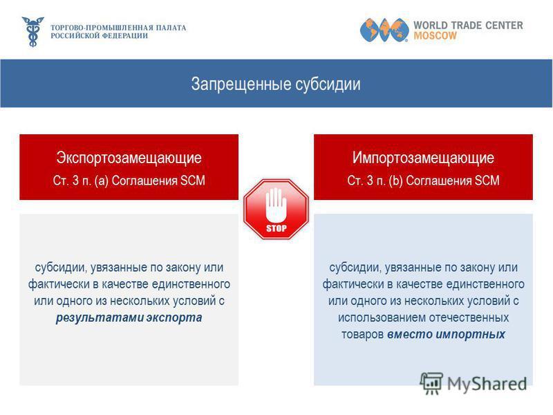 Запрещенные субсидии Экспортозамещающие Ст. 3 п. (а) Соглашения SCM Импортозамещающие Ст. 3 п. (b) Соглашения SCM субсидии, увязанные по закону или фактически в качестве единственного или одного из нескольких условий с результатами экспорта субсидии,