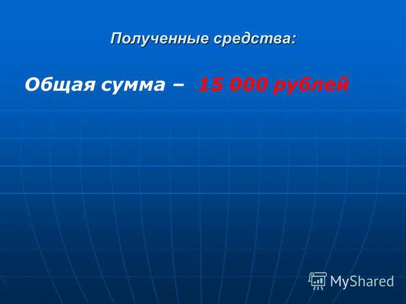 Полученные средства: Общая сумма – 15 000 рублей