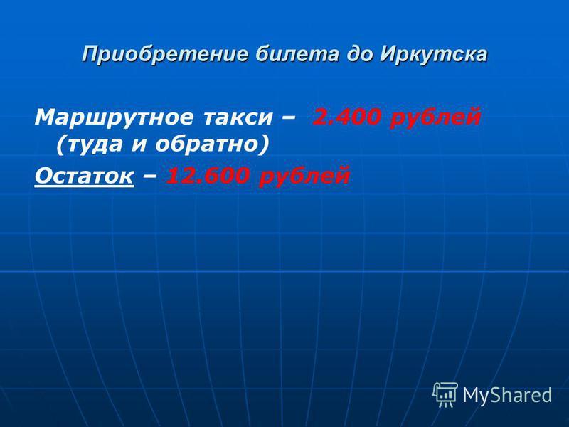 Приобретение билета до Иркутска Маршрутное такси – 2.400 рублей (туда и обратно) Остаток – 12.600 рублей