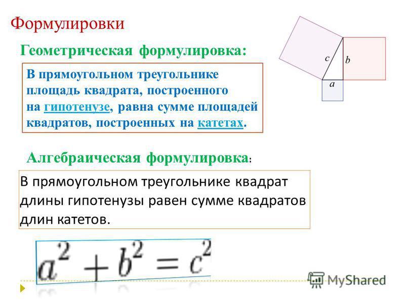 Формулировки Геометрическая формулировка: В прямоугольном треугольнике площадь квадрата, построенного на гипотенузе, равна сумме площадей квадратов, построенных на катетах.гипотенузекатетах В прямоугольном треугольнике квадрат длины гипотенузы равен