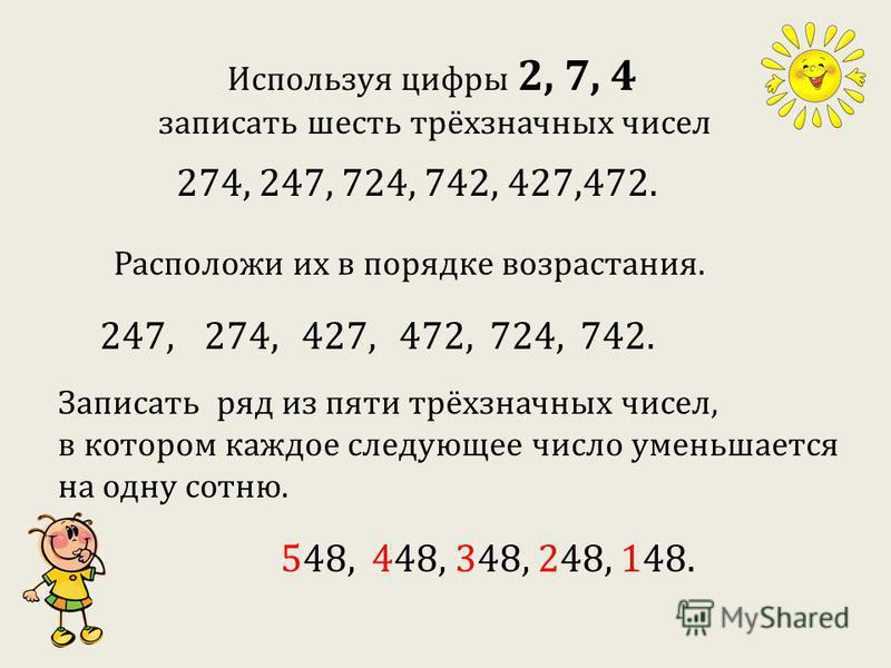 Используя цифры 2, 7, 4 записать шесть трёхзначных чисел 274, 247, 724, 742, 427,472. Расположи их в порядке возрастания. 247,274,427,472,724,742. Записать ряд из пяти трёхзначных чисел, в котором каждое следующее число уменьшается на одну сотню. 548