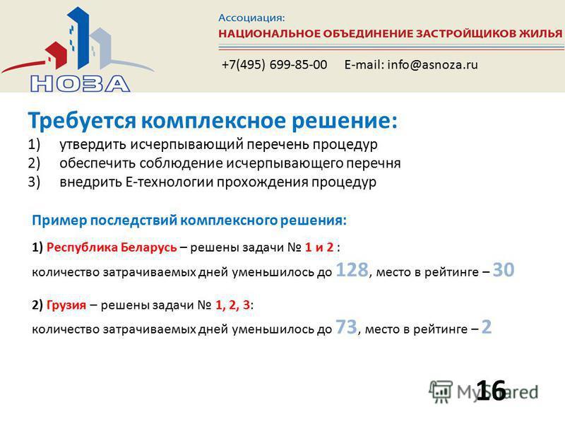 Требуется комплексное решение: 1)утвердить исчерпывающий перечень процедур 2)обеспечить соблюдение исчерпывающего перечня 3)внедрить E-технологии прохождения процедур 16 +7(495) 699-85-00 E-mail: info@asnoza.ru Пример последствий комплексного решения
