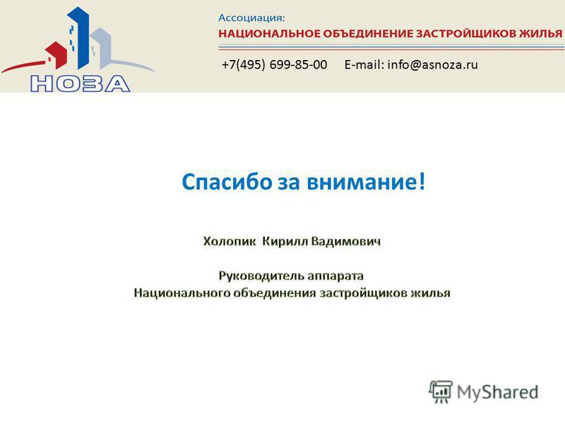 Спасибо за внимание! +7(495) 699-85-00 E-mail: info@asnoza.ru