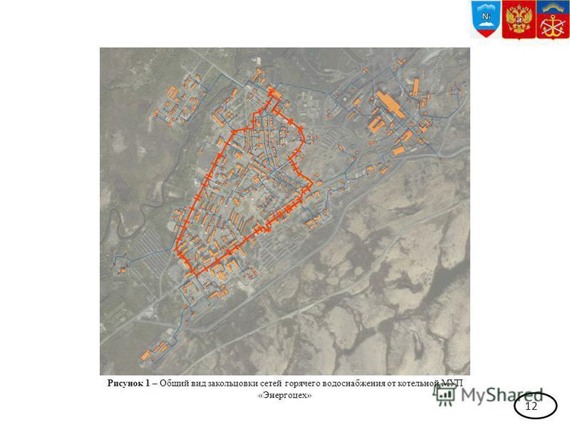 12 Рисунок 1 – Общий вид закольцовки сетей горячего водоснабжения от котельной МУП «Энергоцех»