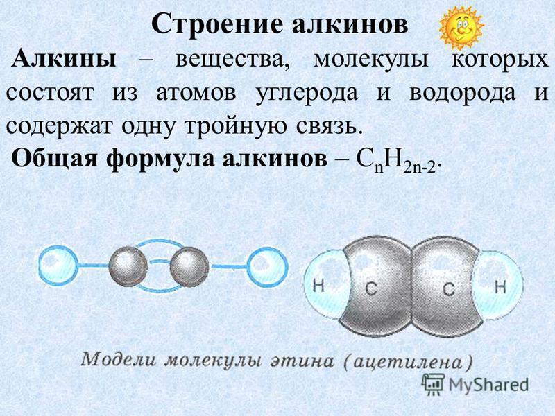 Строение алкинов Алкины – вещества, молекулы которых состоят из атомов углерода и водорода и содержат одну тройную связь. Общая формула алкинов – C n H 2n-2.