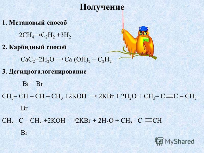 Получение 1. Метановый способ 2CH 4 C 2 H 2 +3H 2 2. Карбидный способ CaC 2 +2H 2 O Ca (OH) 2 + C 2 H 2 3. Дегидрогалогенирование Br Br CH 3 – CH – CH – CH 3 +2KOH 2KBr + 2H 2 O + CH 3 – C C – CH 3 Br CH 3 – C – CH 3 +2KOH 2KBr + 2H 2 O + CH 3 – C CH