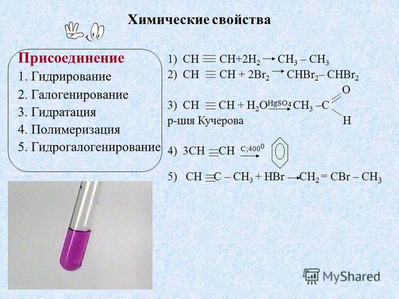 1) СH CH+2H 2 CH 3 – CH 3 2) СH CH + 2Br 2 CHBr 2 – CHBr 2 O 3) СH CH + H 2 O HgSO 4 CH 3 –C р-ция Кучерова H 4) 3СH CH C;400 0 5) СH C – CH 3 + HBr СH 2 = CBr – CH 3 Химические свойства Присоединение 1. Гидрирование 2. Галогенирование 3. Гидратация