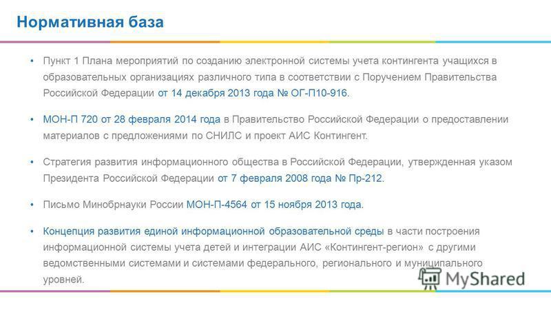 Нормативная база Пункт 1 Плана мероприятий по созданию электронной системы учета контингента учащихся в образовательных организациях различного типа в соответствии с Поручением Правительства Российской Федерации от 14 декабря 2013 года ОГ-П10-916. МО
