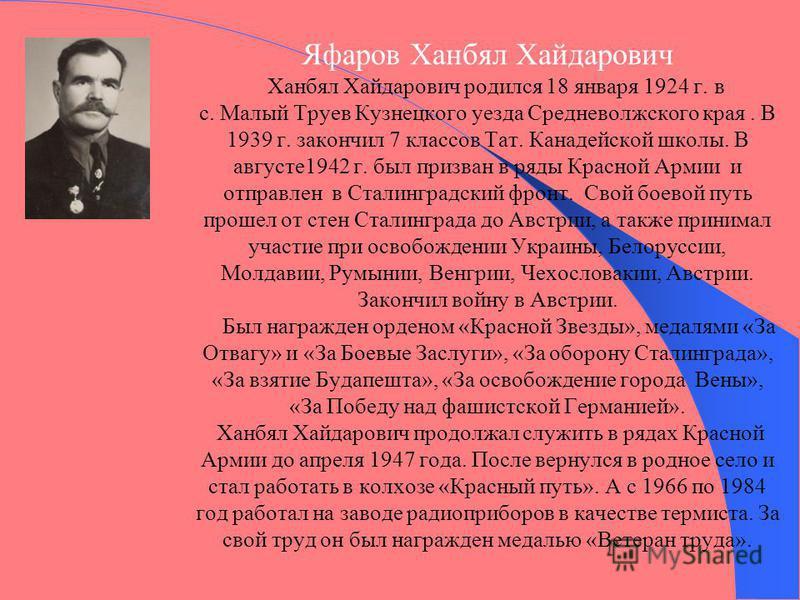 Яфаров Ханбял Хайдарович Ханбял Хайдарович родился 18 января 1924 г. в с. Малый Труев Кузнецкого уезда Средневолжского края. В 1939 г. закончил 7 классов Тат. Канадейской школы. В августе 1942 г. был призван в ряды Красной Армии и отправлен в Сталинг