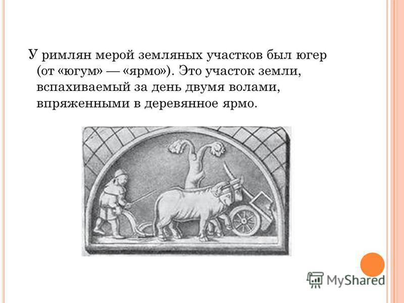 У римлян мерой земляных участков был югер (от «югум» «ярмо»). Это участок земли, вспахиваемый за день двумя волами, впряженными в деревянное ярмо.