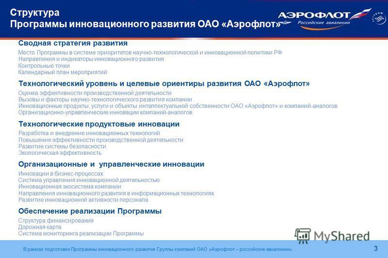 В рамках подготовки Программы инновационного развития Группы компаний ОАО «Аэрофлот – российские авиалинии». Структура Программы инновационного развития ОАО «Аэрофлот» Сводная стратегия развития Место Программы в системе приоритетов научно-технологич