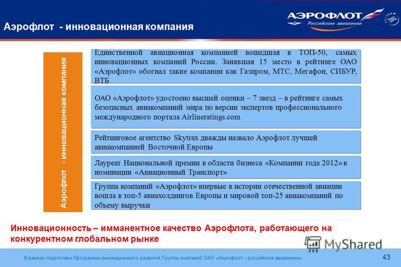 В рамках подготовки Программы инновационного развития Группы компаний ОАО «Аэрофлот – российские авиалинии». 43 Аэрофлот - инновационная компания Единственной авиационная компанией вошедшая в ТОП-50, самых инновационных компаний России. Занявшая 15 м