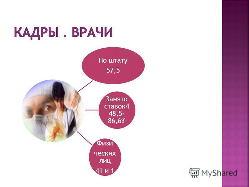По штату 57,5 Занято ставок 4 48,5- 86,6% Физи ческих лиц 41 и 1 40- 65%(40- 65%в 2010)