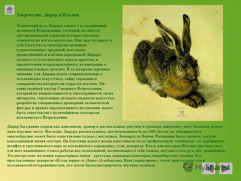 Творчество. Дюрер и Италия Творческий путь Дюрера совпал с кульминацией немецкого Возрождения, сложный, во многом дисгармоничный характер которого наложил отпечаток на всё его искусство. Оно аккумулирует в себе богатство и своеобразие немецких художе