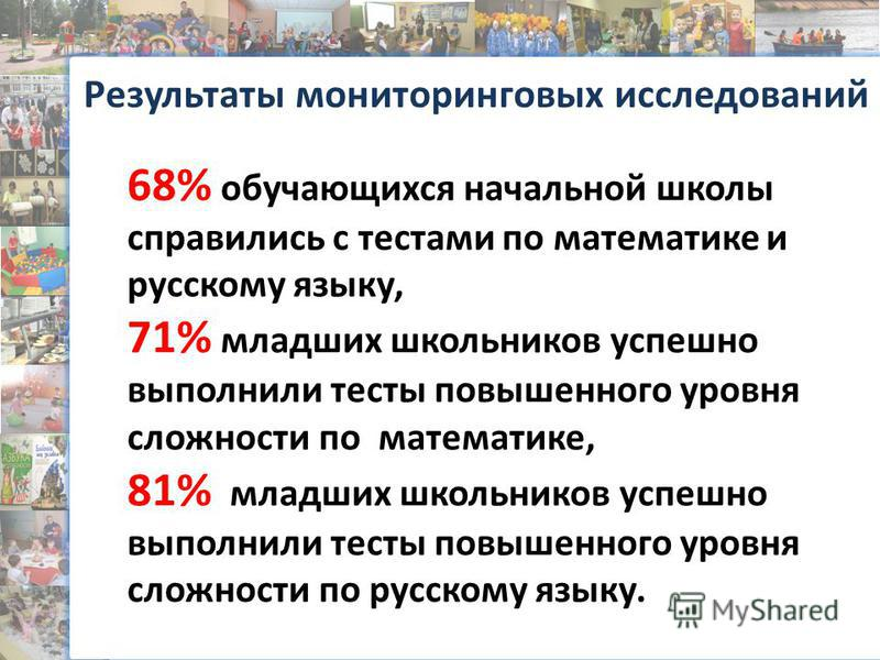 Результаты мониторинговых исследований 68% обучающихся начальной школы справились с тестами по математике и русскому языку, 71% младших школьников успешно выполнили тесты повышенного уровня сложности по математике, 81% младших школьников успешно выпо