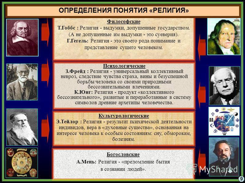 Философские Т.Гоббс : Религия - выдумки, допущенные государством. (А не допущенные им выдумки - это суеверия). Г.Гегель: Религия - это своего рода понимание и представление сущего человеком. Психологические З.Фрейд : Религия - универсальный коллектив