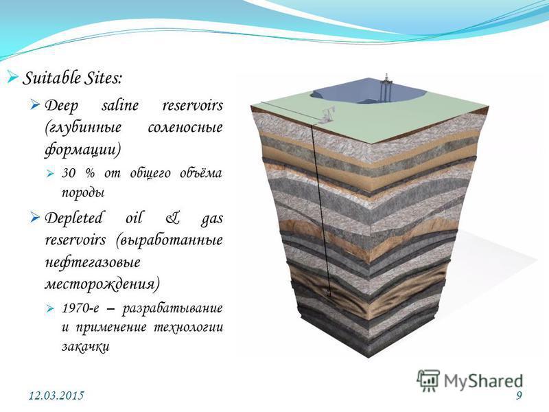 Suitable Sites: Deep saline reservoirs (глубинные соленосные формации) 30 % от общего объёма породы Depleted oil & gas reservoirs (выработанные нефтегазовые месторождения) 1970-е – разрабатывание и применение технологии закачки 12.03.20159