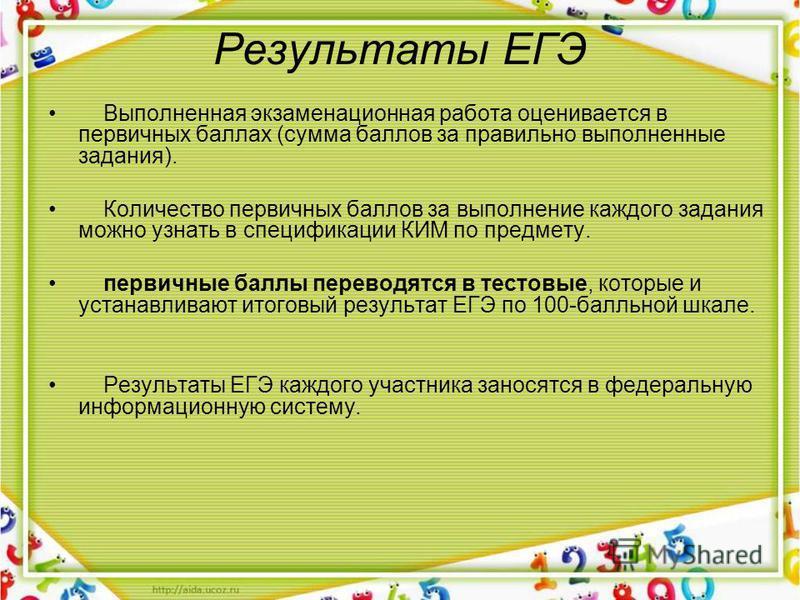 Результаты ЕГЭ Выполненная экзаменационная работа оценивается в первичных баллах (сумма баллов за правильно выполненные задания). Количество первичных баллов за выполнение каждого задания можно узнать в спецификации КИМ по предмету. первичные баллы п