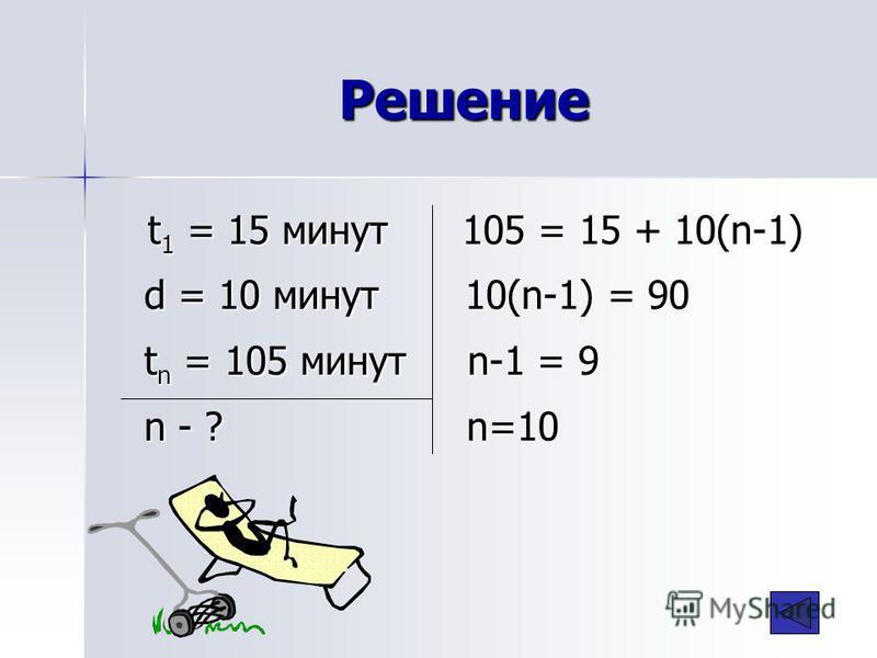 Решение t 1 = 15 минут 105 = 15 + 10(n-1) d = 10 минут 10(n-1) = 90 t n = 105 минут n-1 = 9 n - ? n=10 t 1 = 15 минут 105 = 15 + 10(n-1) d = 10 минут 10(n-1) = 90 t n = 105 минут n-1 = 9 n - ? n=10