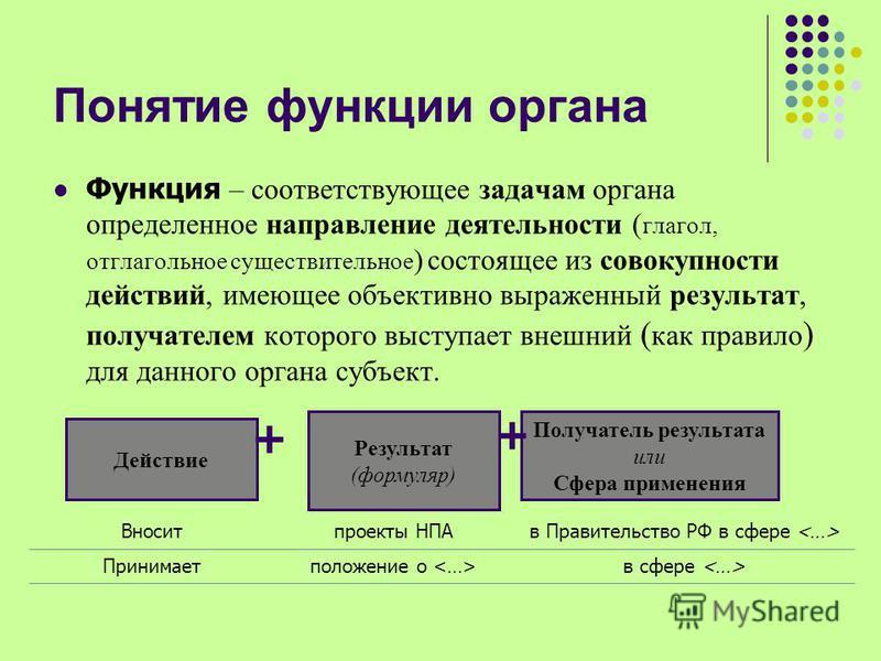 Понятие функции органа Функция – соответствующее задачам органа определенное направление деятельности ( глагол, отглагольное существительное ) состоящее из совокупности действий, имеющее объективно выраженный результат, получателем которого выступает