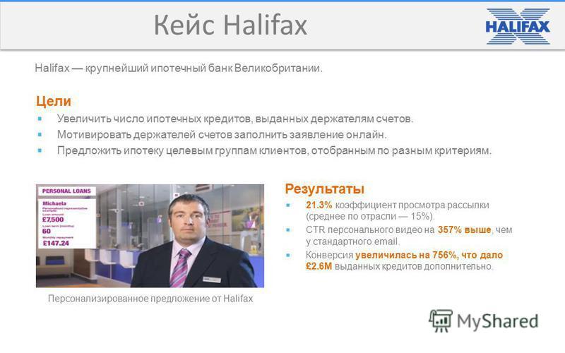 Кейс Halifax Персонализированное предложение от Halifax Результаты 21.3% коэффициент просмотра рассылки (среднее по отрасли 15%). CTR персонального видео на 357% выше, чем у стандартного email. Конверсия увеличилась на 756%, что дало £2.6M выданных к