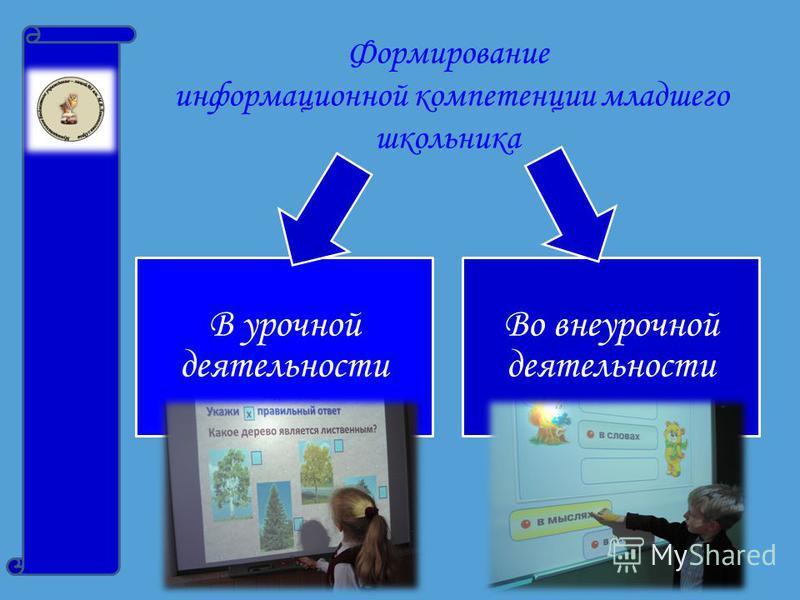 Формирование информационной компетенции младшего школьника В урочной деятельности Во внеурочной деятельности