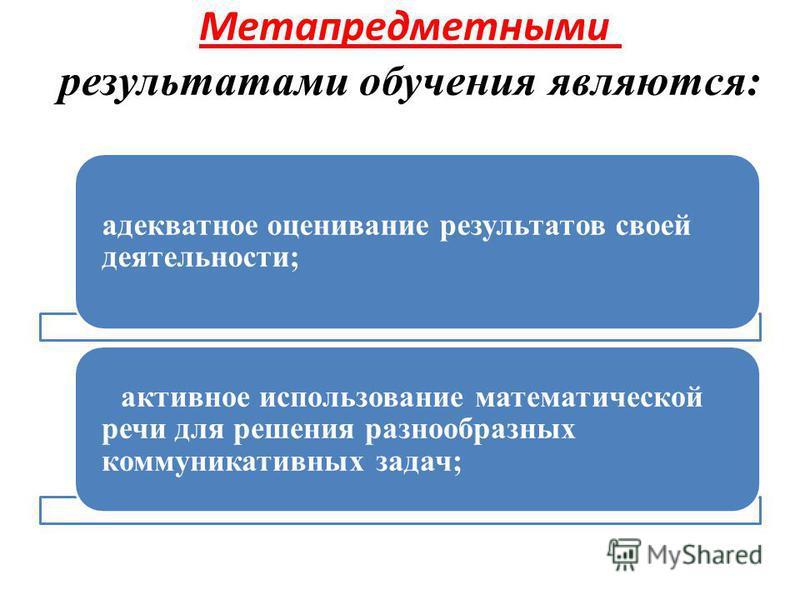 Метапредметными результатами обучения являются: адекватное оценивание результатов своей деятельности; активное использование математической речи для решения разнообразных коммуникативных задач;