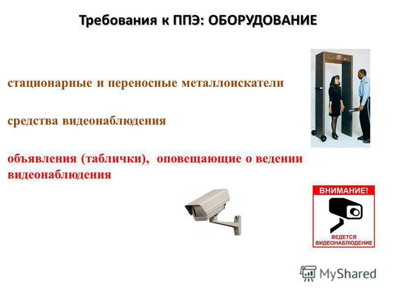 Требования к ППЭ: ОБОРУДОВАНИЕ стационарные и переносные металлоискатели средства видеонаблюдения объявления (таблички), оповещающие о ведении видеонаблюдения
