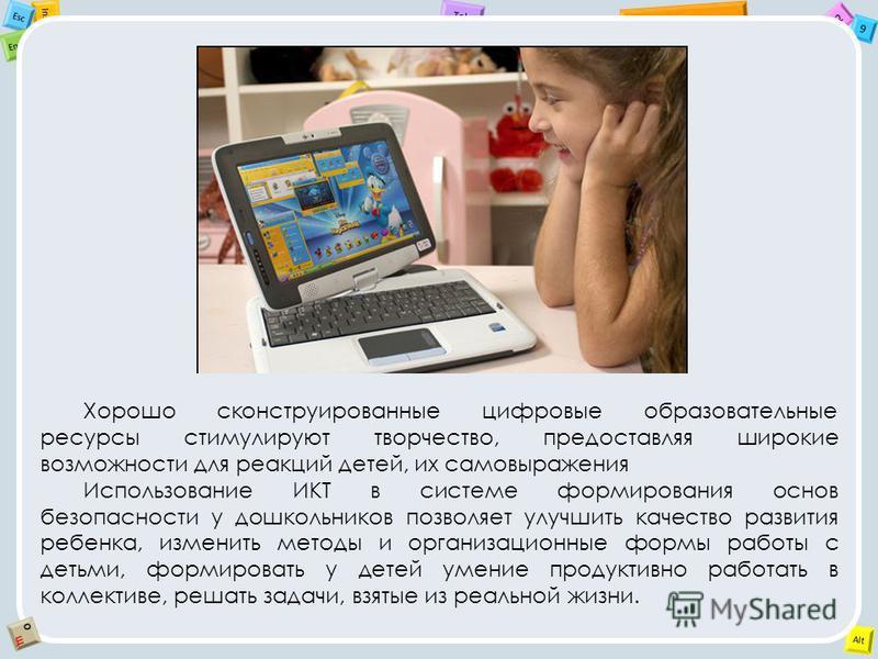 2 Tab 9 Alt Ins Esc End OЩOЩ Хорошо сконструированные цифровые образовательные ресурсы стимулируют творчество, предоставляя широкие возможности для реакций детей, их самовыражения Использование ИКТ в системе формирования основ безопасности у дошкольн
