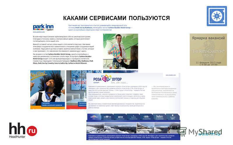 КАКАМИ СЕРВИСАМИ ПОЛЬЗУЮТСЯ www.hh.ru