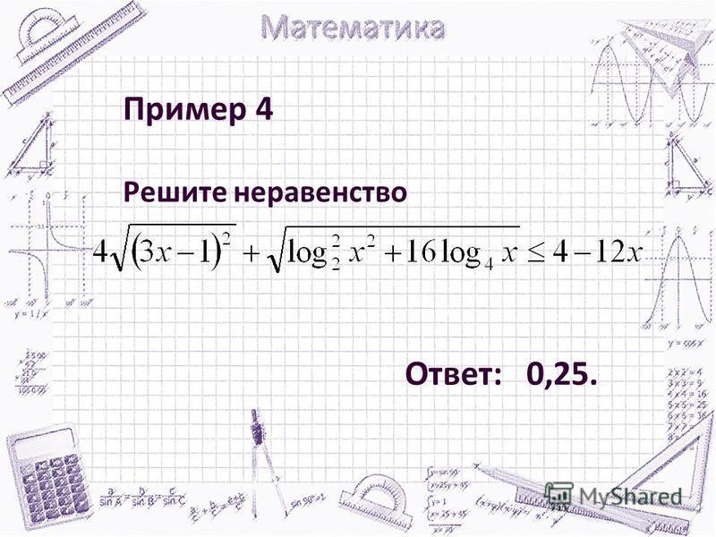 Пример 4 Решите неравенство Ответ: 0,25.