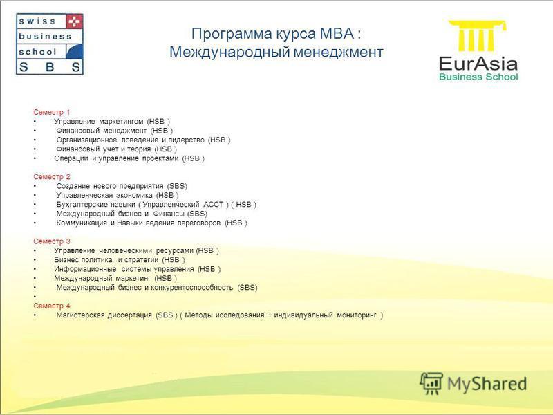 Программа курса MBA : Международный менеджмент Семестр 1 Управление маркетингом (HSB ) Финансовый менеджмент (HSB ) Организационное поведение и лидерство (HSB ) Финансовый учет и теория (HSB ) Операции и управление проектами (HSB ) Семестр 2 Создание