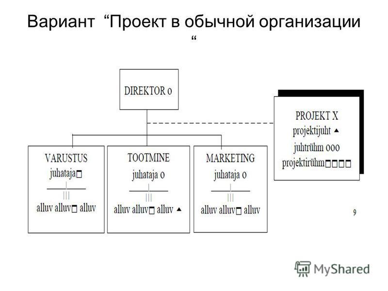 Вариант Проект в обычной организации